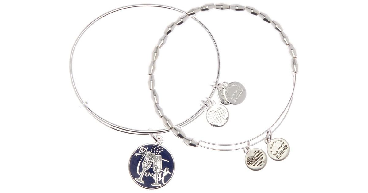 Alex And Ani Metallic Let S Toast Charm Beaded Expandable Wire Bracelets Set Of 2