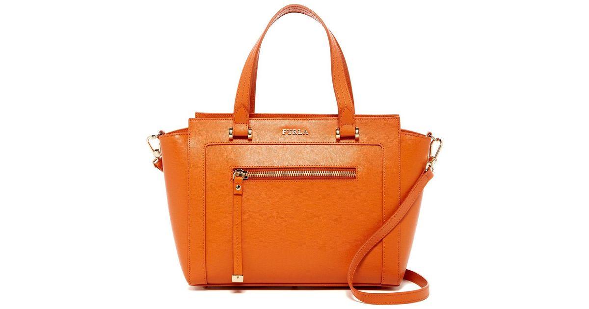 8c3694f634 Lyst - Furla Ginevra Medium Leather Satchel in Orange