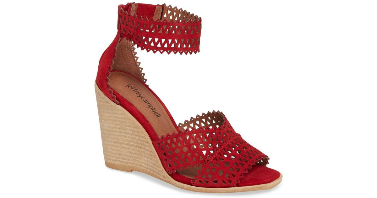 06ddc352f63 Lyst - Jeffrey Campbell Besante Perforated Wedge Sandal (women) in Red