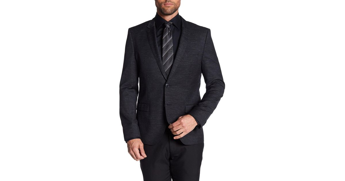 e8aefe321f0 Lyst - BOSS Arti Black Two Button Notch Lapel Wool Suit Separates Trim Fit  Sport Coat in Black for Men