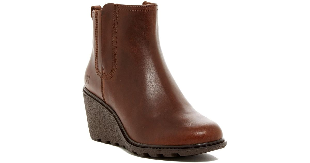 a87eb8aaa909 Lyst - Timberland Amston Chelsea Wedge Boot in Brown