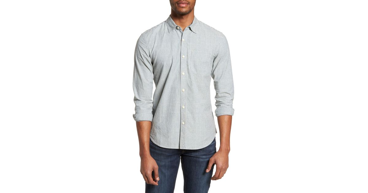 AG Adriano Goldschmied Mens Nelson Long Sleece Stripe Chambray Button Down Shirt