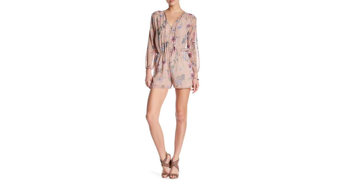 ddf5333cd4da Lyst - Fraiche By J Tie Neck Floral Romper in Pink