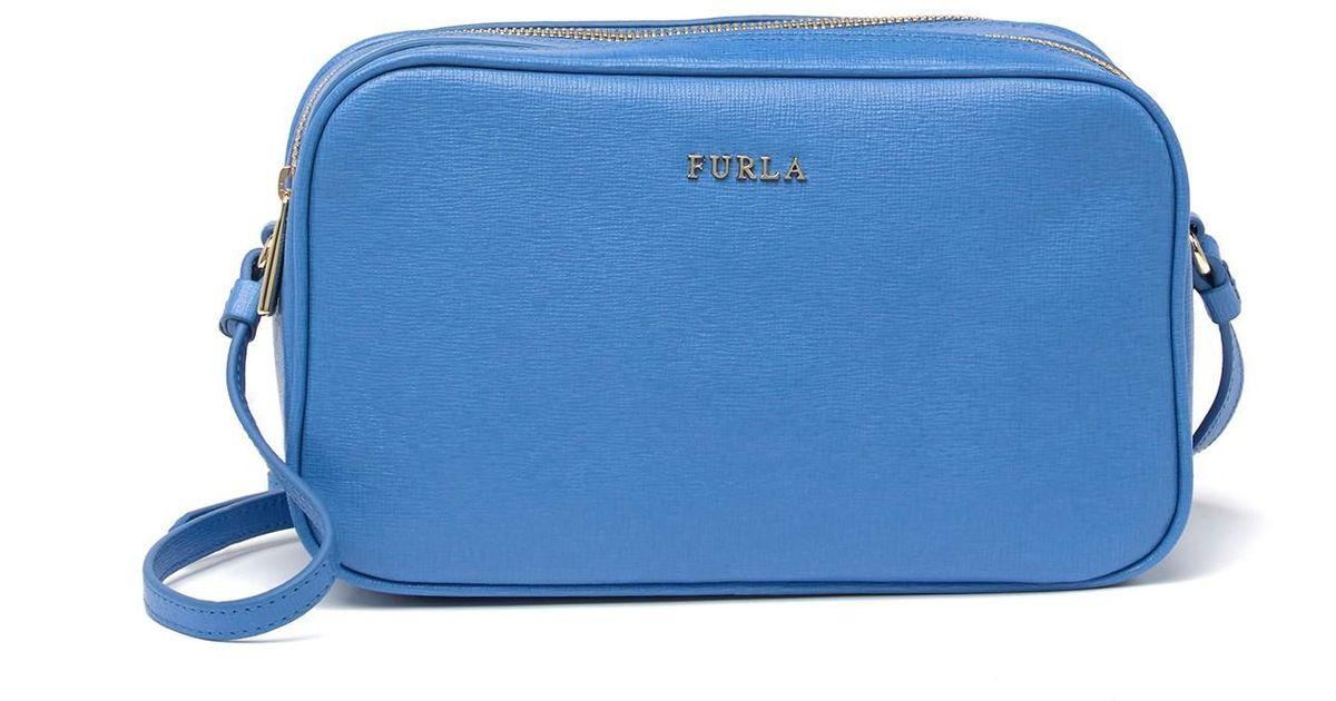 great fit united kingdom crazy price Furla Blue Lilli Xl Double Zip Leather Crossbody