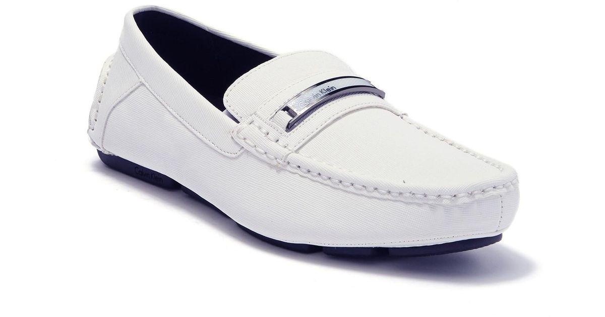 f082722cc72ad Calvin Klein White Merve Weave Embossed Loafer for men