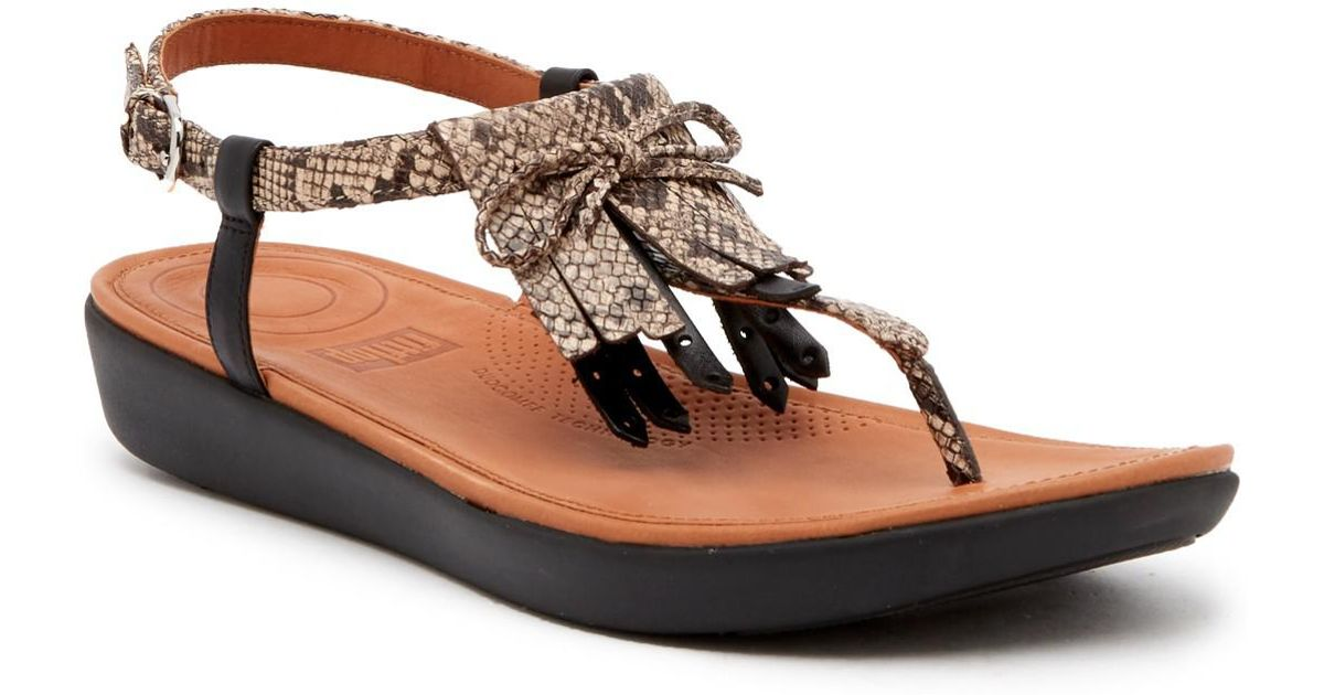 cab2ee7789d195 Fitflop Tia Fringe Snake Print Leather Thong Sandal in Brown - Lyst