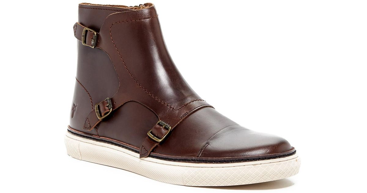 Frye Leather Gates Triple Monk Mid Boot In Espresso Brown