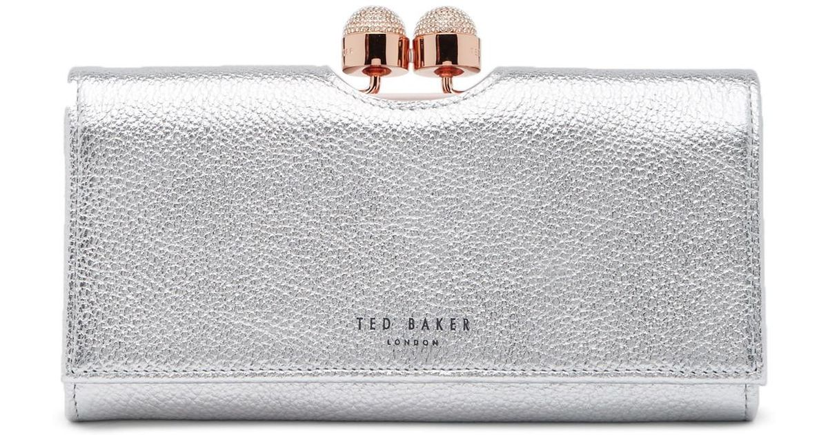 a671f27e5dbf0 Lyst - Ted Baker Pamelia Leather Bobble Matinee Wallet in Metallic