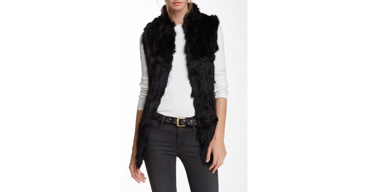 3f70b1c22 Love Token Genuine Rabbit Fur & Knit Vest (nordstrom Exclusive) in Black -  Lyst
