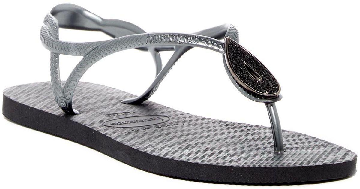 f22fef0dbddb00 Lyst - Havaianas Luna Special Crystal Accented Thong Sandal in Black