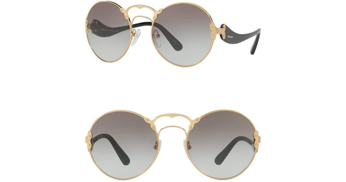 cc3852c72f5 Lyst - Prada Catwalk 57mm Round Sunglasses in Metallic
