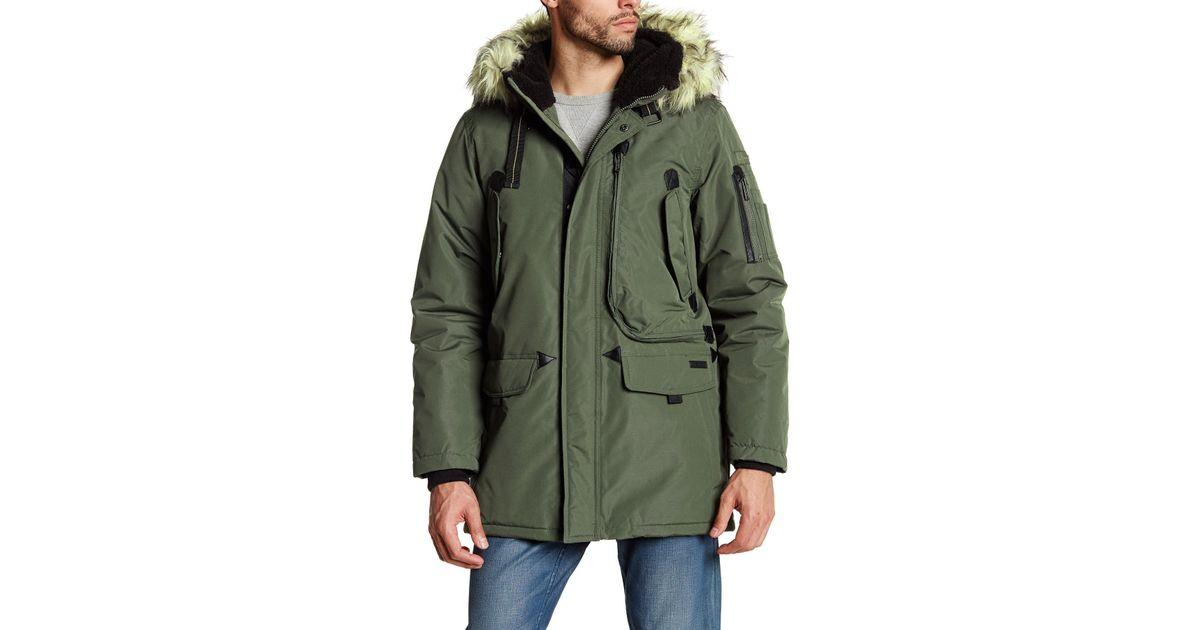 f6b2b440acb Ben Sherman Green Faux Fur Trim Hooded Parka Jacket for men