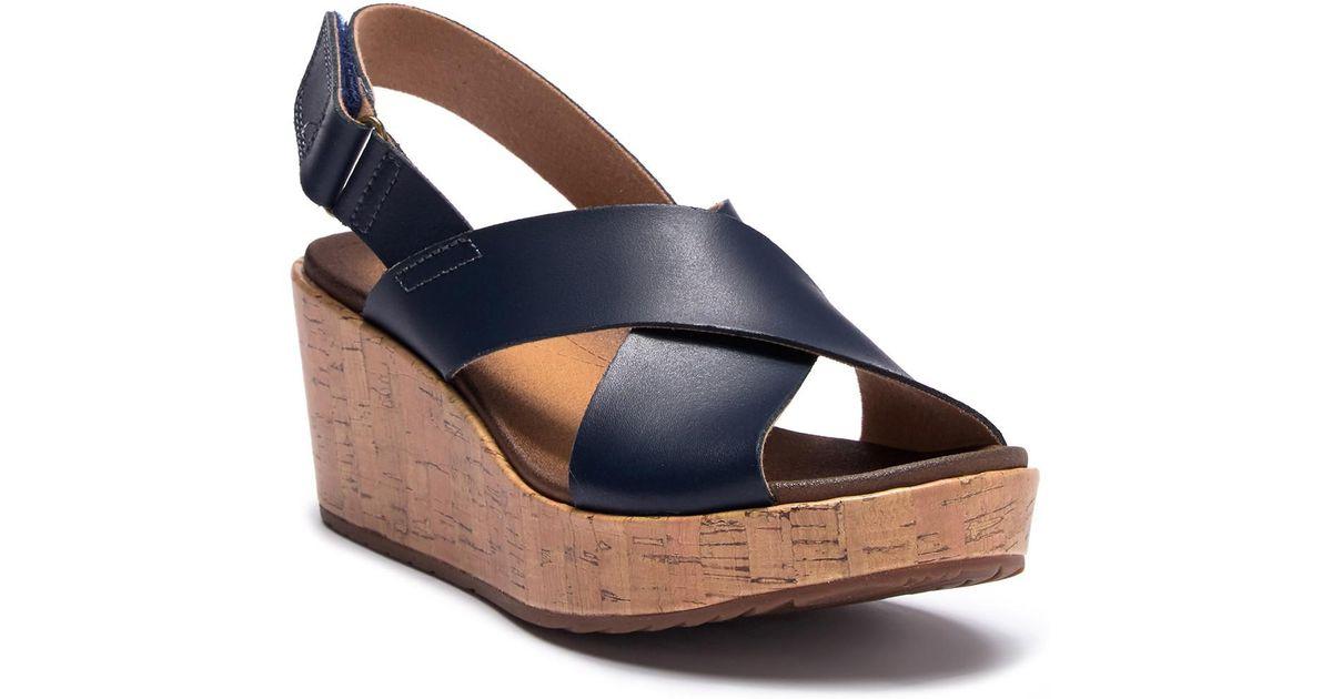 Clarks Stasha Hale Leather Wedge Sandal