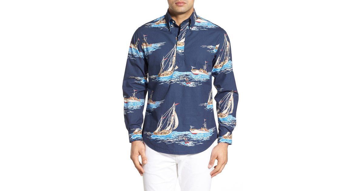 Brooks brothers Boat Print Regent Fit Pullover Sport Shirt ...