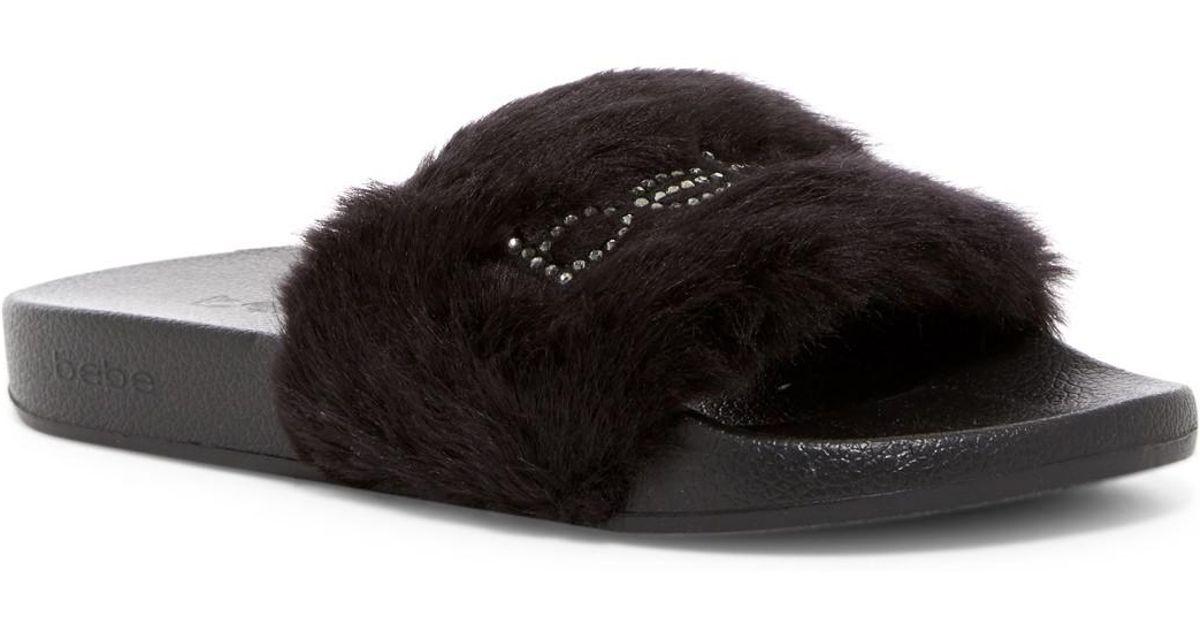 Bebe Furiosa Faux Fur Slide Sandal in