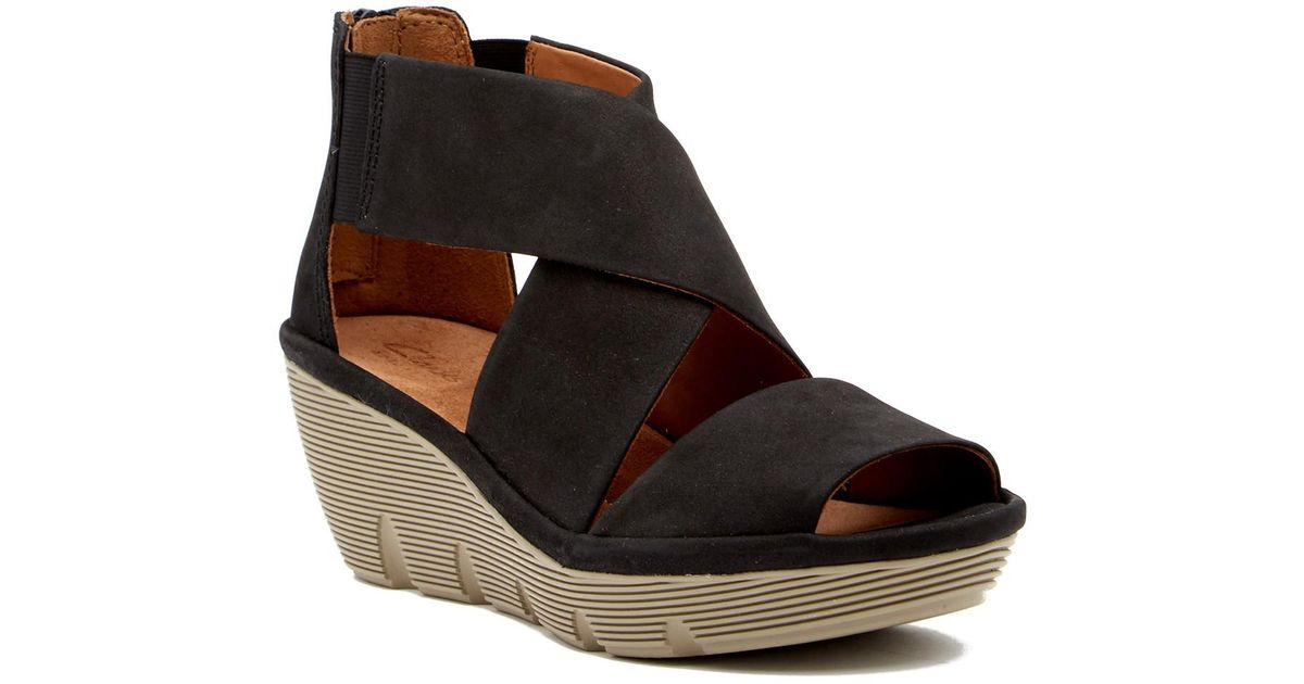 aef3eb904 Clarks Clarene Glamour Nubuck Wedge Sandal - Wide Width Available in Black  - Lyst