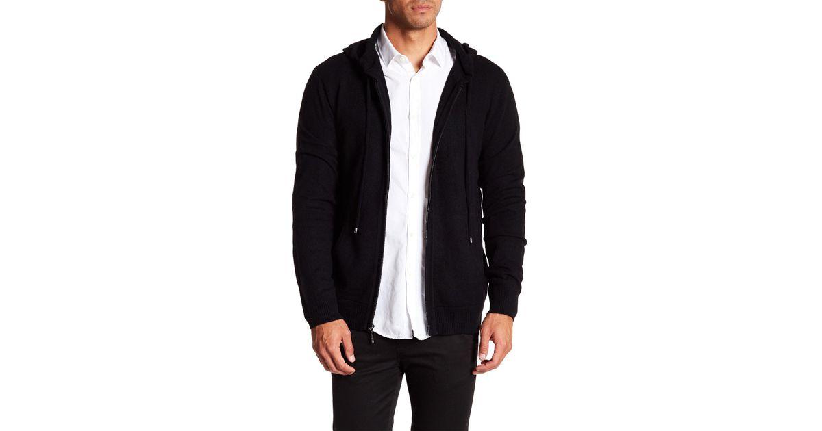 Quinn Men/'s Black 100/% Cashmere Full Zip Hooded Sweater $250