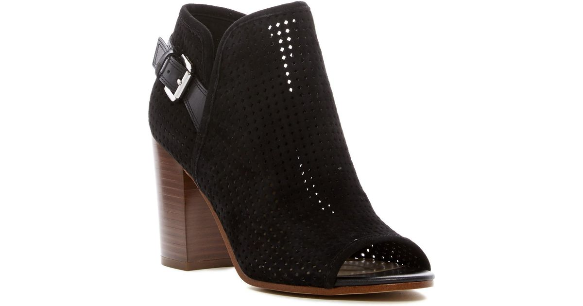 6913787afd792d Lyst - Sam Edelman Easton Perforated Open Toe Bootie in Black
