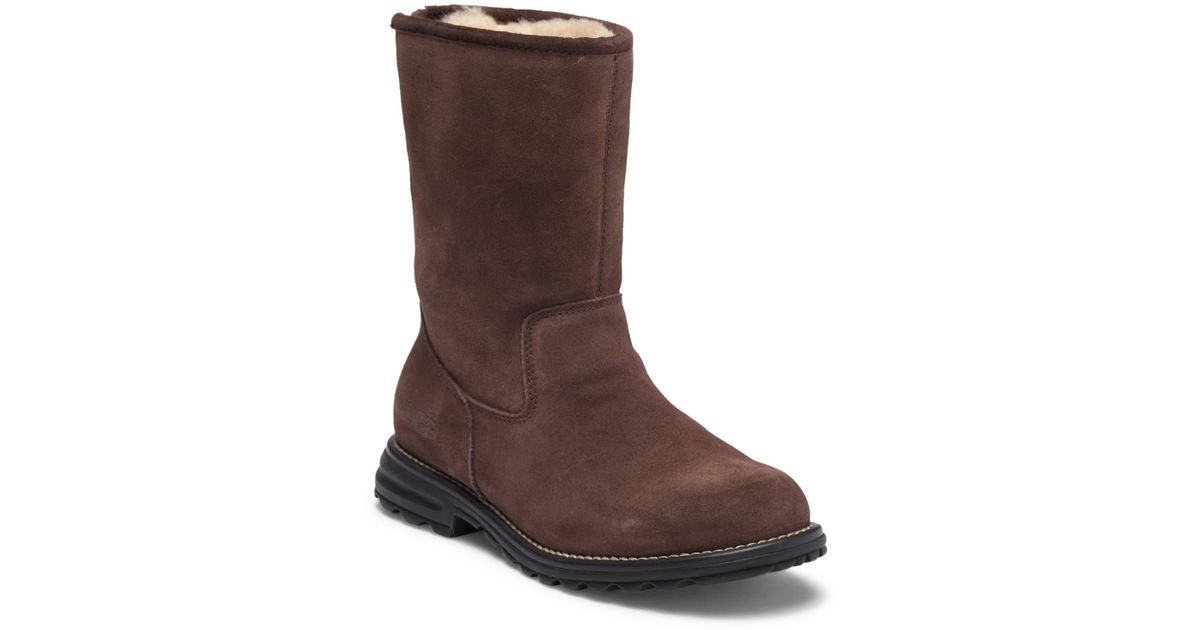 c52b40c7909 Ugg Brown Langley Pure(tm) Lined Waterproof Leather Snow Boot