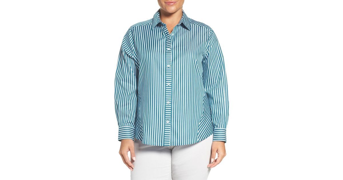 Foxcroft no iron sateen stripe shirt plus size in blue lyst - How to unwrinkle your clothes with no iron ...