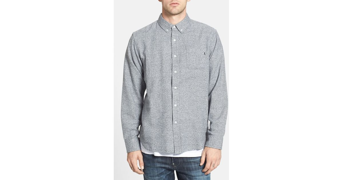 Obey 39 eligh 39 slim fit flannel shirt in gray for men light for Women s slim fit flannel shirt