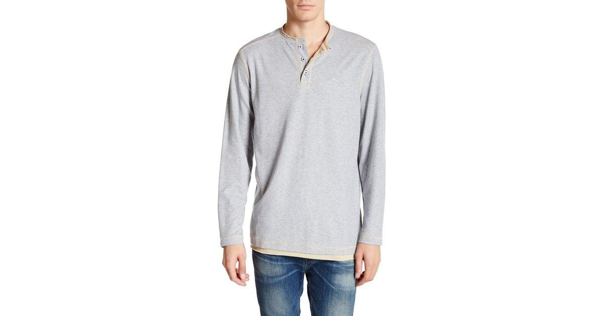 Tommy Bahama Men/'s Black Grand Thermal Waffle Long Sleeve Henley T-Shirt