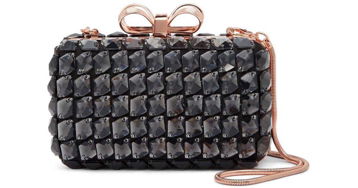 80f505d1ed358 Lyst - Ted Baker Crystey Embellished Frame Evening Bag in Black