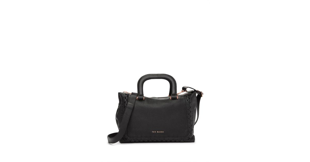 a0d4a907d2e98 Lyst - Ted Baker Tia Interlocking Leather Tote Bag in Black