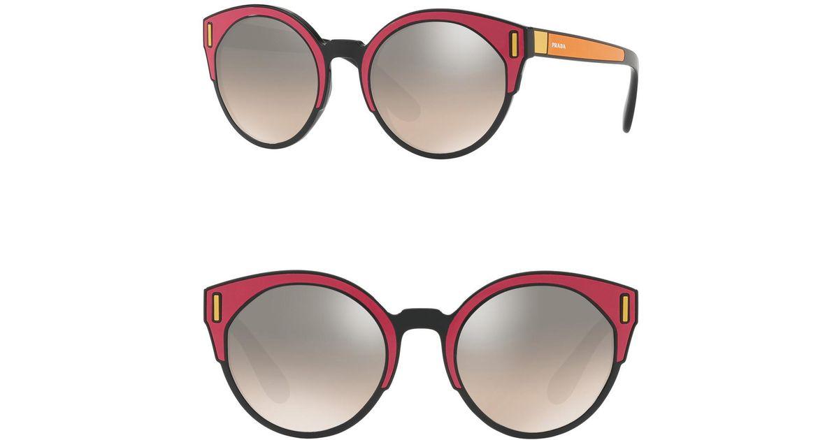 d6111a7c07d0 ... amazon lyst prada 53mm cat eye sunglasses in brown 783c5 ef504