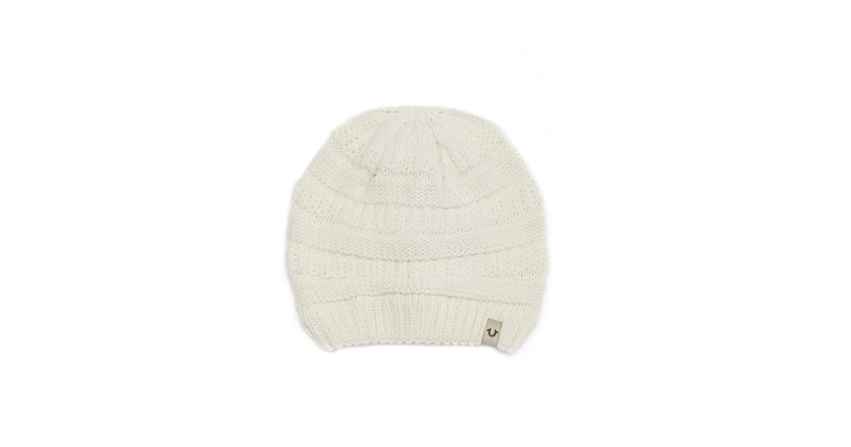 683fd096a True Religion Natural Chunky Ribbed Knit Beanie