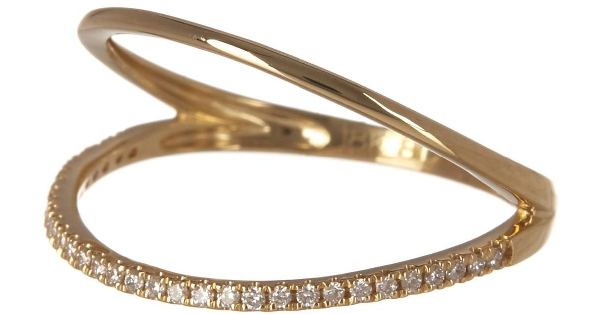 e5e2f9a20 Lyst - Bony Levy 18k Yellow Gold Open Oval Pave Diamond Ring - 0.11 Ctw in  Metallic