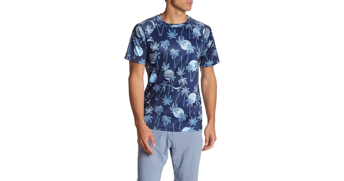 c5a5ebeb6ff69 Lyst - TRUNKS SURF AND SWIM CO Tropical Palm Print Upf 50+ Swim T-shirt in  Blue for Men