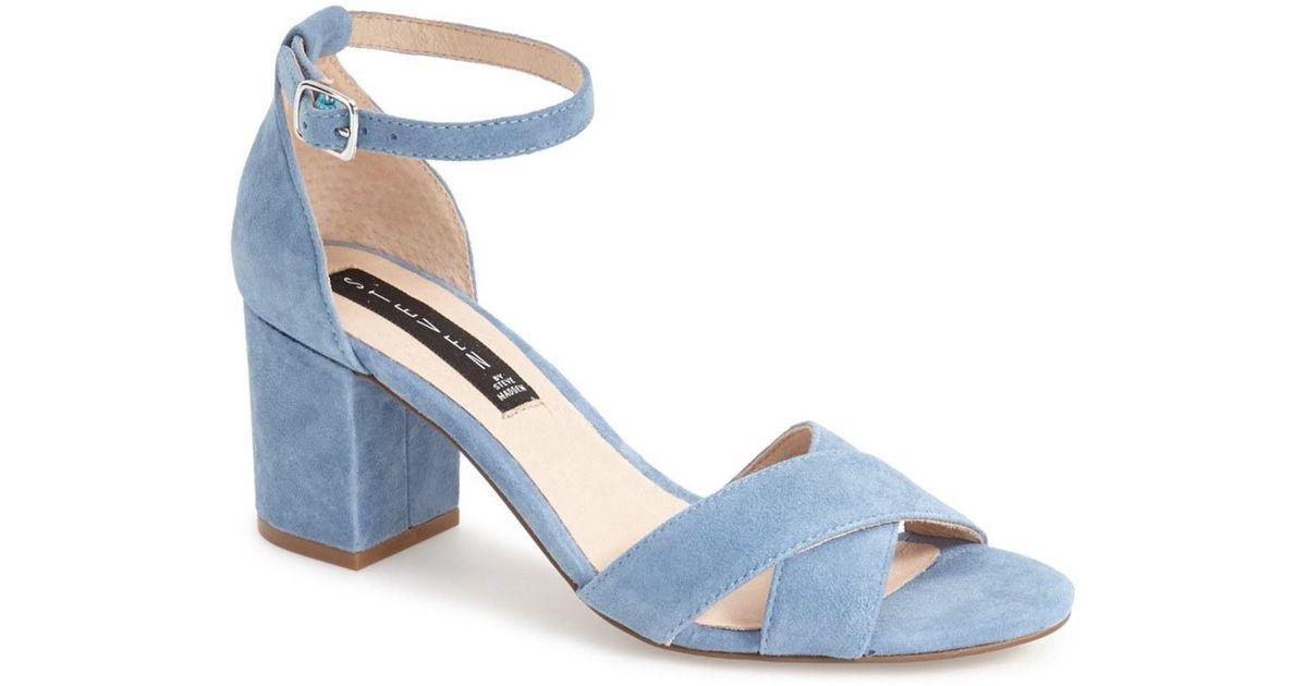 131bdd6d2f6 Lyst - Steven by Steve Madden Voomme Ankle Strap Block Heel Sandal in Blue