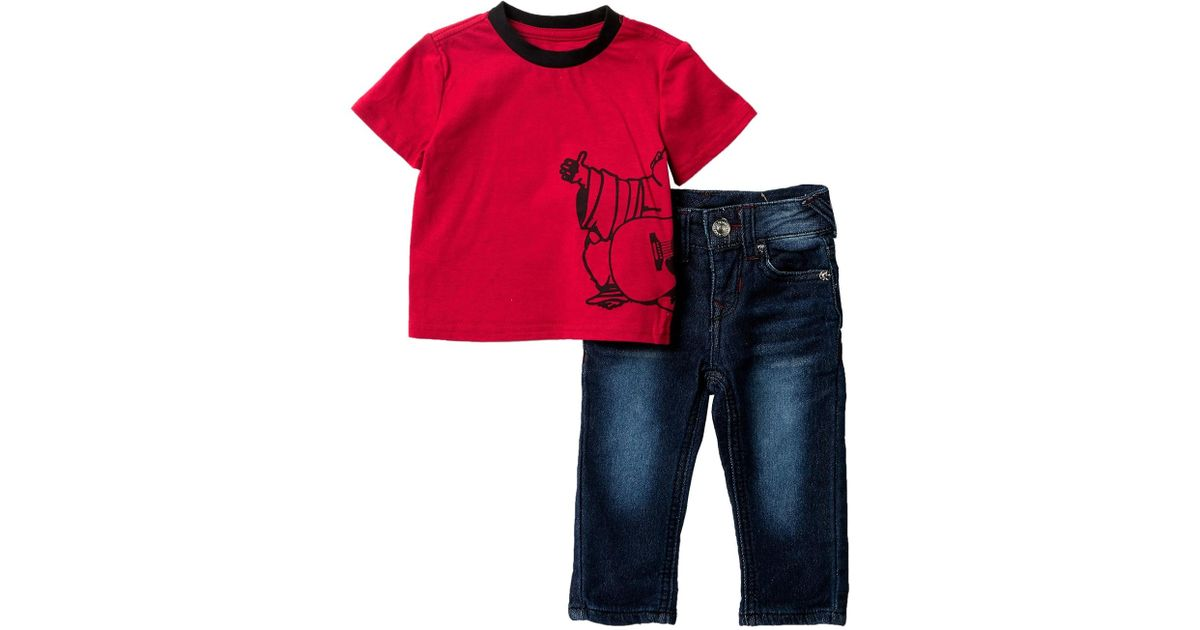 3cbd98aa Lyst - True Religion Buddha Imprint T-shirt 2-piece Set (baby Boys) in Red  for Men