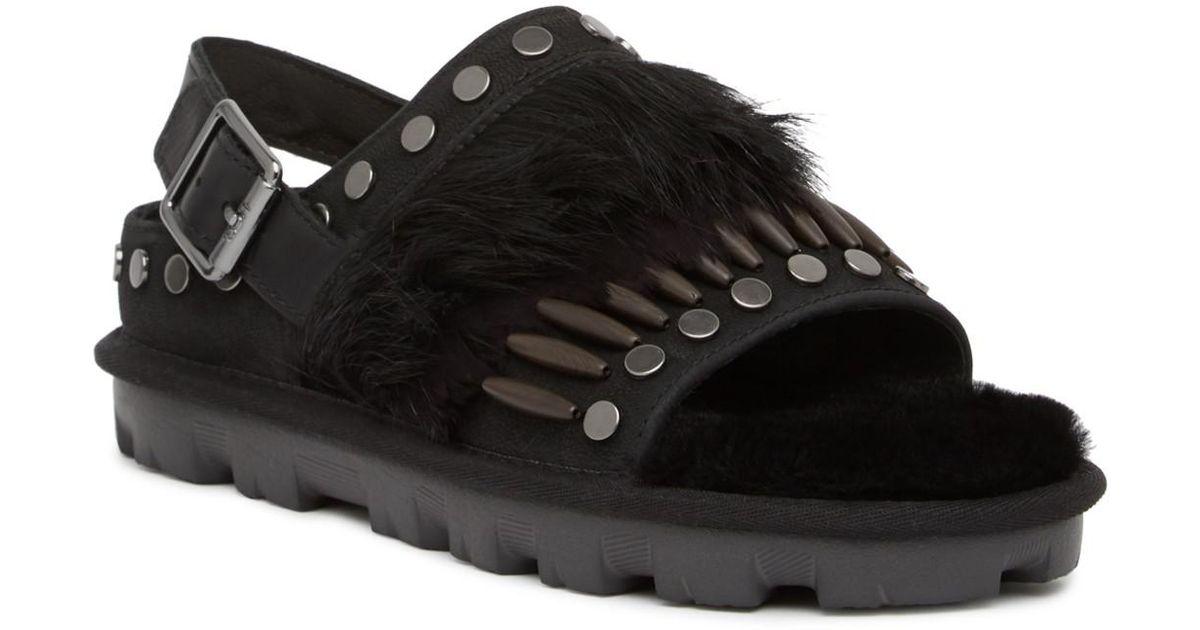 f005616208b Ugg Black Biker Chic Genuine Shearling Sandal
