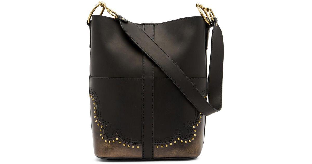 e7ed9b7f033 Lyst - Frye Ilana Western Leather Bucket Bag in Black