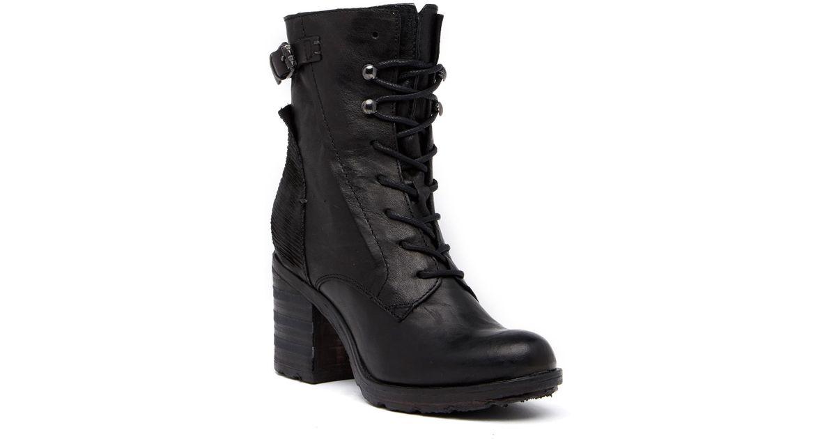 8ce8be80750 Khrio Black Leather Block Heel Combat Boot