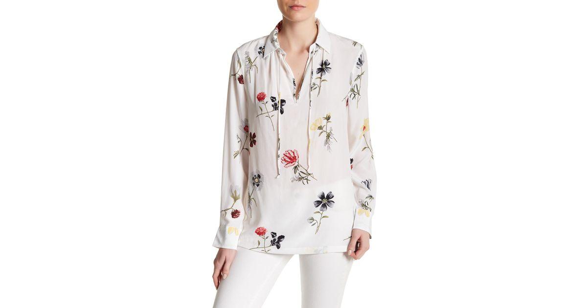 b962a24c52569a Lyst - Equipment Bristol Floral Print Silk Blouse in White