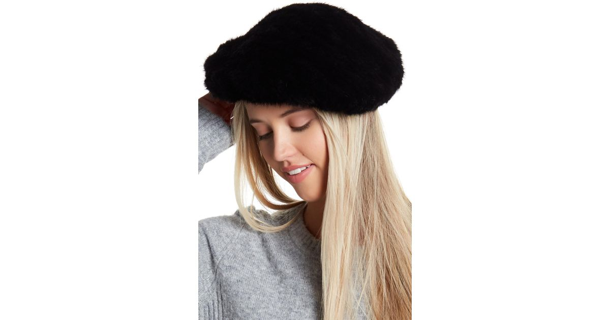 3b1be6c77 Surell Black Genuine Mink Fur Knit Oversized Paris Beret