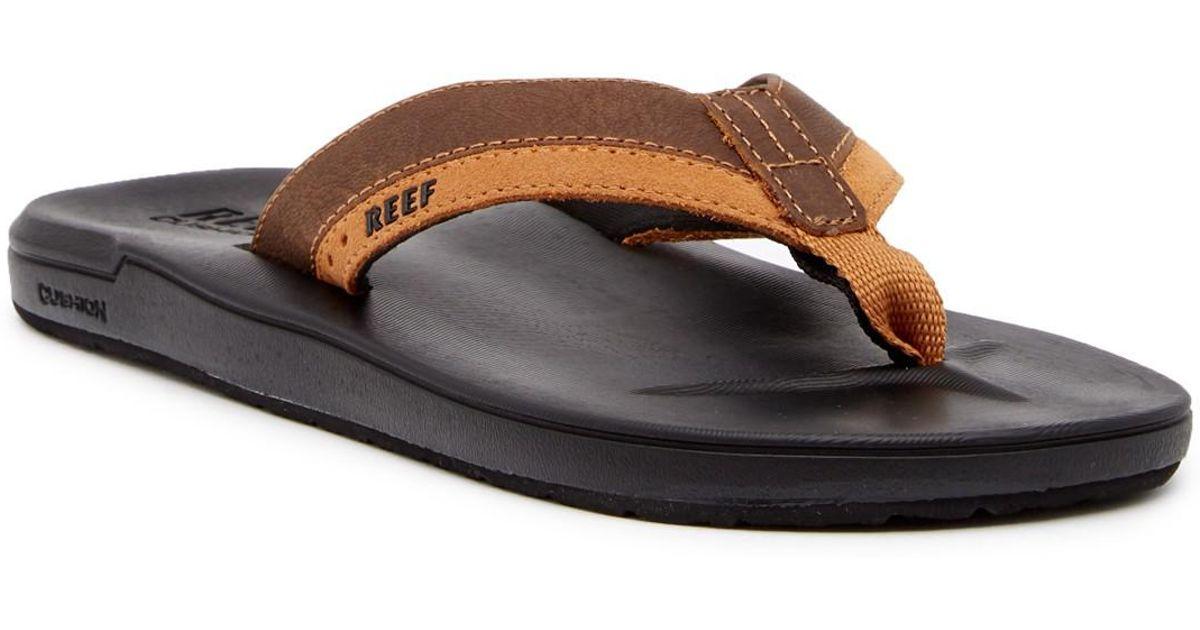 Reef Black Contour Cushion Leather Flip Flop For Men