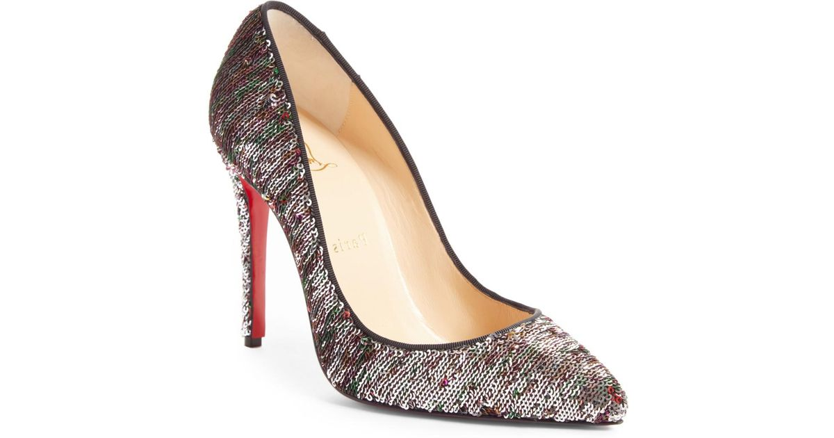 b8dae358675 Lyst - Christian Louboutin Pigalle Follies Sequin Pointed Toe Pump