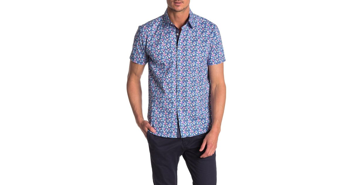 88aff51e2 Con.struct Daisy Short Sleeve Slim Fit Shirt in Blue for Men - Lyst