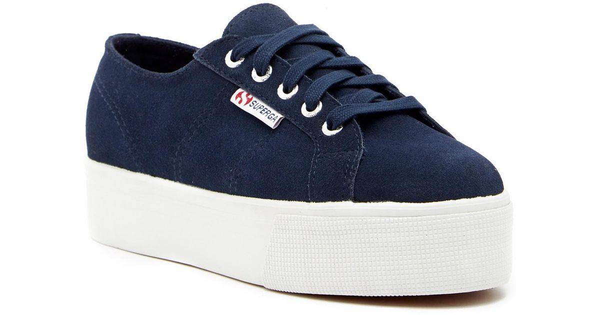 Superga Suede Platform Sneaker in Blue