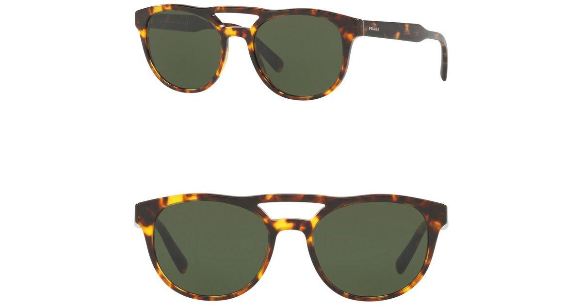 72a0fc4c3982 Lyst - Prada 54mm Round Aviator Sunglasses in Green for Men