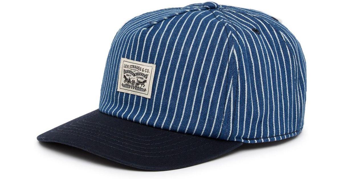 fc0a74876844fe Levi's Denim Striped Baseball Cap in Blue for Men - Lyst