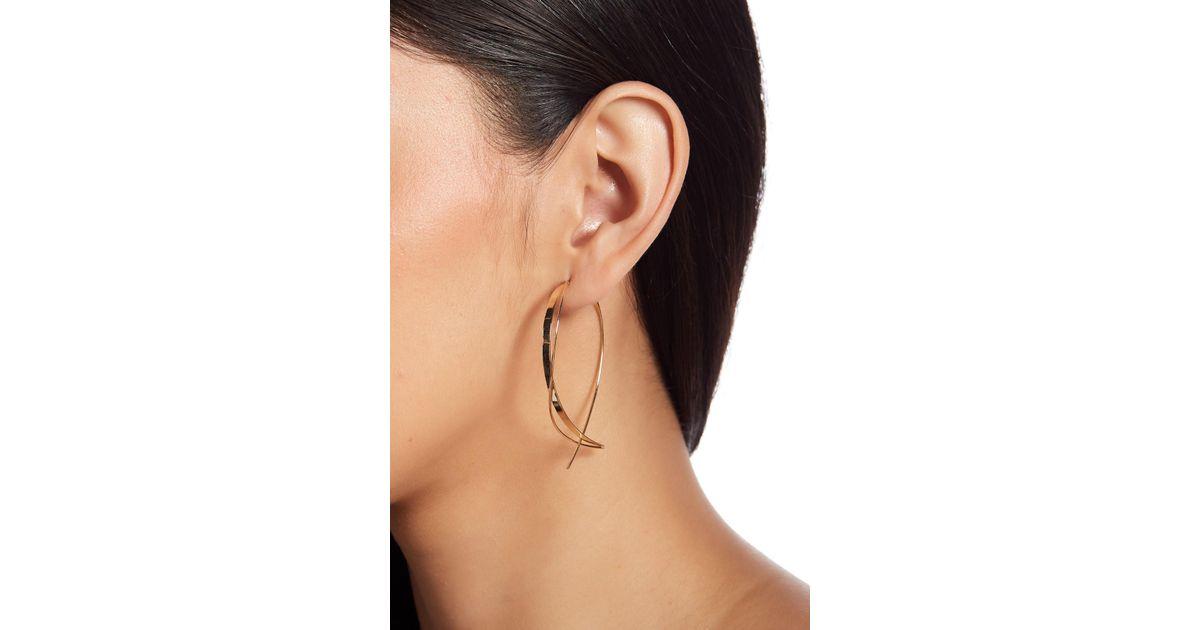 ca69e4c8edbad Lana Jewelry Metallic 14k Yellow Gold Small Upside Down Hoop Earrings