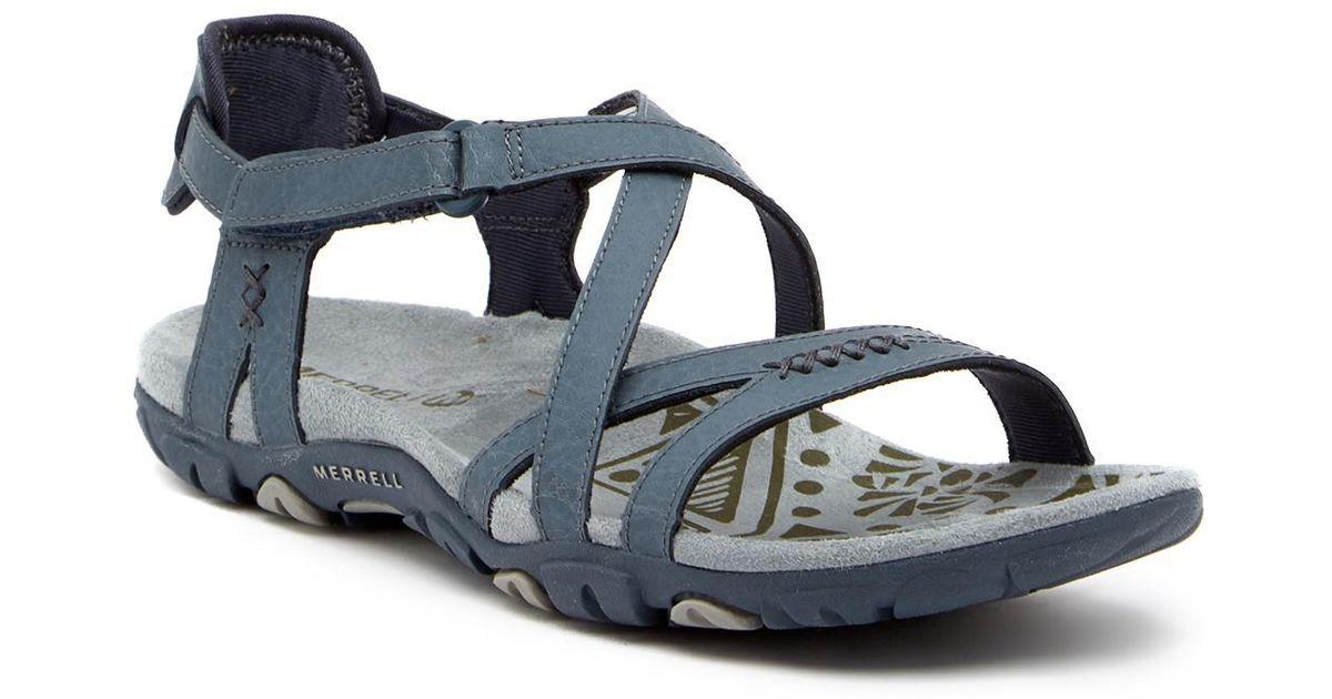 836292a1b4c9 Lyst - Merrell Sandspur Rose Leather Sandal in Blue for Men