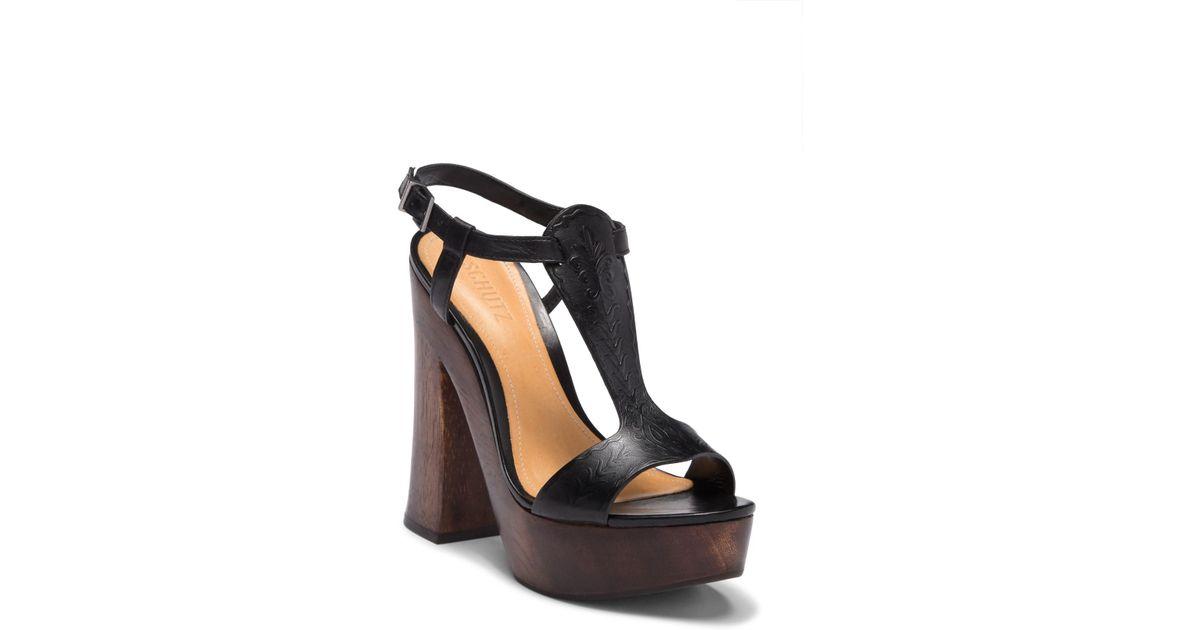aad30f357944 Lyst - Schutz Michele T-strap Platform Sandal in Black