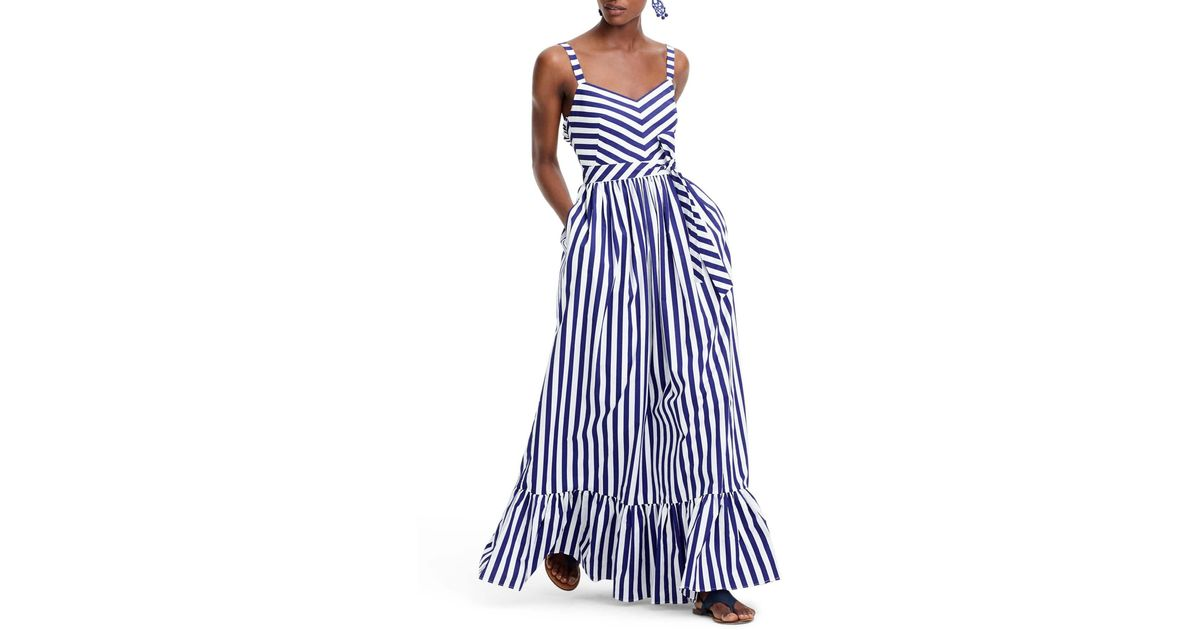 J.Crew Blue Stripe Ruffle Cotton Maxi Dress (regular & Plus Size)