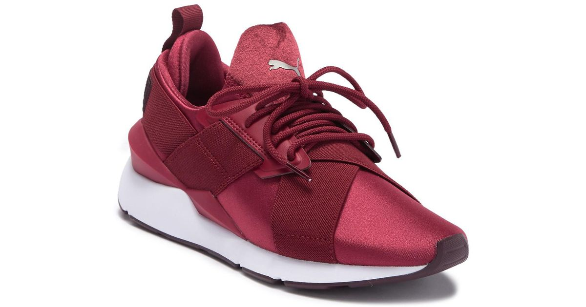 PUMA Muse Satin Ii Sneakers in Red - Lyst